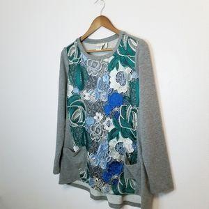 LOGO by Lori Goldstein crochet pocket tunic top